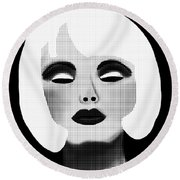 Bold Blonde Beauty Round Beach Towel
