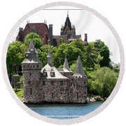 Boldt Castle And Powerhouse Round Beach Towel by Rose Santuci-Sofranko