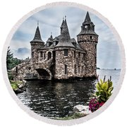 Boldt's Castle Tower Round Beach Towel by Debbie Green