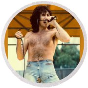 Bon Scott Of Ac Dc At Day On The Green - July 1979 Round Beach Towel