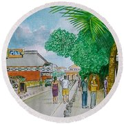 Bonaire Street Round Beach Towel by Frank Hunter