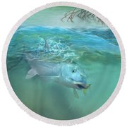 Round Beach Towel featuring the painting Bone Fish by Rob Corsetti