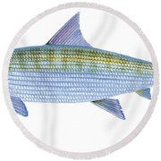 Bonefish Round Beach Towel by Carey Chen