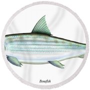 Bonefish Round Beach Towel by Charles Harden