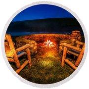 Bonfire Round Beach Towel by Alexey Stiop