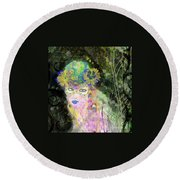 Round Beach Towel featuring the mixed media Bonnie Blue by Kim Prowse