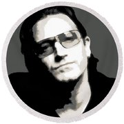 Bono Poster Round Beach Towel by Dan Sproul