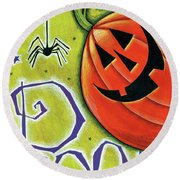 Boo Pumpkin And Spider Round Beach Towel by Anne Tavoletti