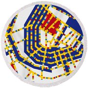 Boogie Woogie Amsterdam Round Beach Towel by Chungkong Art