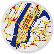 Boogie Woogie New York Round Beach Towel by Chungkong Art