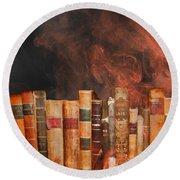 Book Burning Inspired By Fahrenheit 451 Round Beach Towel