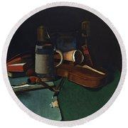 Books Mug Pipe And Violin Round Beach Towel by John Frederick Peto
