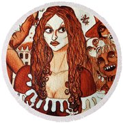 Round Beach Towel featuring the painting Boor People And Girl by Don Pedro De Gracia