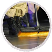 Boots And Brooms Round Beach Towel