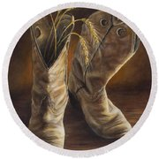 Boots And Wheat Round Beach Towel