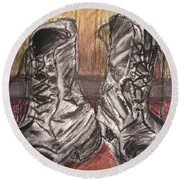 Boots In The Hall Way Round Beach Towel by Teresa White