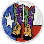 Boots On A Texas Flag Round Beach Towel