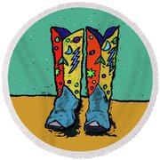 Boots On Teal Round Beach Towel