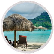 Bora Bora Beach Round Beach Towel by IPics Photography
