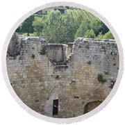 Bordeaux Castle Ruins With Vineyard Round Beach Towel