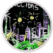 Borges Fictions Poster  Round Beach Towel