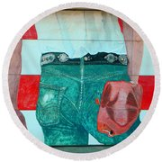 Born In The Usa Urban Garage Door Mural Round Beach Towel by Chris Berry
