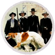 Borzoi Art - Tombstone Movie Poster Round Beach Towel