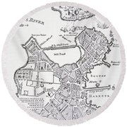 Boston And Bunker Hill 1781 Round Beach Towel
