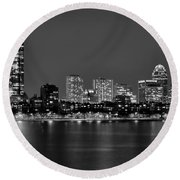 Boston Back Bay Skyline At Night Black And White Bw Panorama Round Beach Towel