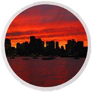 Boston City Sunset Round Beach Towel