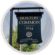 Boston Common Park Sign, Boston, Ma Round Beach Towel