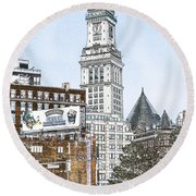 Boston Custom House Tower Round Beach Towel