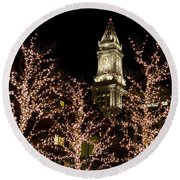 Boston Custom House With Christmas Lights Round Beach Towel
