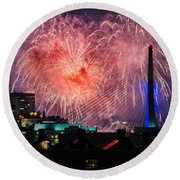 Boston Fireworks 1 Round Beach Towel by Mike Ste Marie