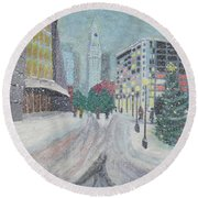 Boston First Snow Round Beach Towel