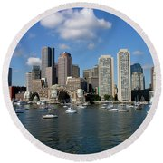Boston Habor Skyline Round Beach Towel