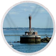Boston Harbor Lighthouse Round Beach Towel