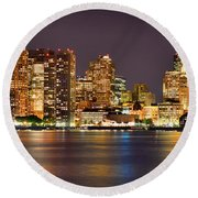 Boston Skyline At Night Panorama Round Beach Towel by Jon Holiday