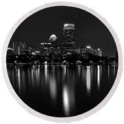 Boston Skyline By Night - Black And White Round Beach Towel