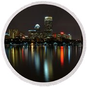 Boston Skyline By Night Round Beach Towel