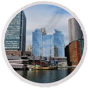 Boston Skyline I Round Beach Towel