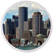 Boston Skyline Round Beach Towel by Randi Grace Nilsberg