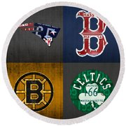 Boston Sports Fan Recycled Vintage Massachusetts License Plate Art Patriots Red Sox Bruins Celtics Round Beach Towel by Design Turnpike