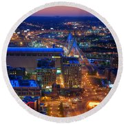 Boston Sunset Aerial View Round Beach Towel