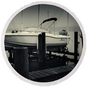 Boston Whaler In The Fog Round Beach Towel by Fran Gallogly