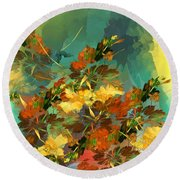 Round Beach Towel featuring the digital art Botanical Fantasy 090914 by David Lane