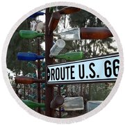 Bottle Trees Route 66 Round Beach Towel