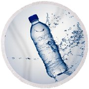 Bottle Water And Splash Round Beach Towel