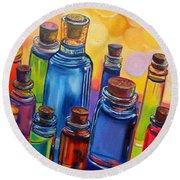 Bottled Rainbow Round Beach Towel by Julie Brugh Riffey