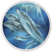Round Beach Towel featuring the painting Bottlenose Dolphins by Thomas J Herring